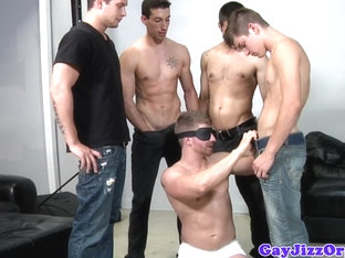 Bukkake loving blindfolded jock gets cumshots