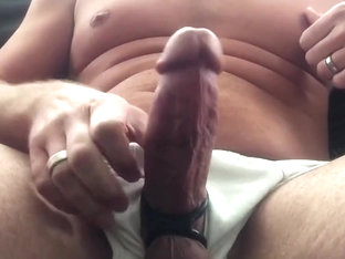 Awesome big cock jerking off cumshot slomo replay