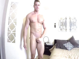 straight hunk stroking his cock