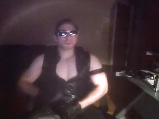 Muscle leather smoke in glove and cock sheath