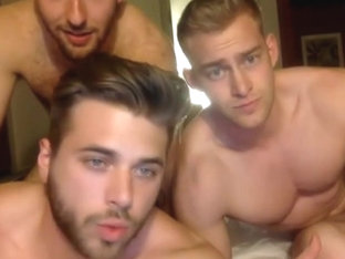 3 muscle bi-curious boys sucking cock  have fun on cam