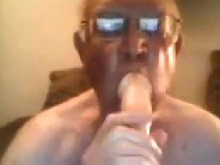 Grandpa show and stroke on cam