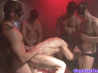 Assfucking gay hunk blindfolded for orgy