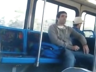 Straight Guy Jerks Off in Bus