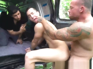 Bound stepson gets raw fucked by his hunky stepdad outdoors