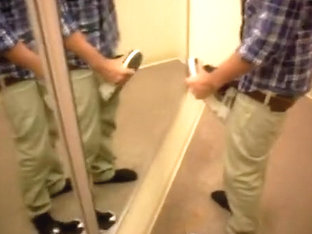 Playing with DVS in fitting room and cum