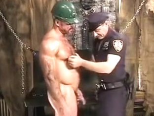 Nasty cop tired a hot worker to sex