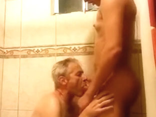 Sucking my Latina TS GF in the Shower