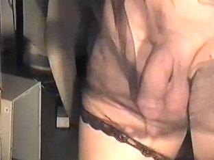 Transvestite in Nylon  Jerking Off & Cumming