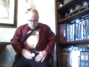 Mature Suit Strip (with Red Wine!)