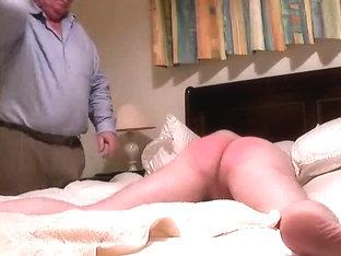 Old fart spanking his gay sissy serf hard