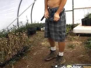 Impromptu greenhouse wank self suck