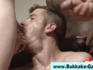 Interracial facial for gay guy