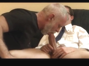 Daddy and the priest suck a huge junior dick