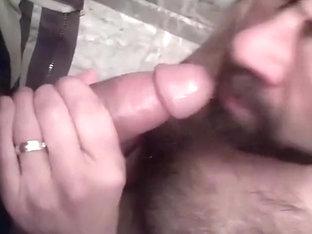 Hairy bearded cocksucker close up