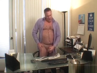 Daddy jerks off in his office
