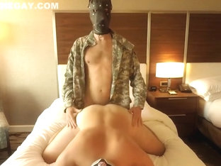 Straight Alpha Soldier In Dog Mask Fucks Bareback Boots Hotel ATM Creampie