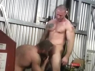 Manly men gay threesome