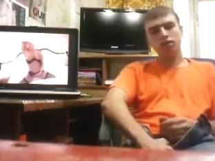Russian guy jerking watching porn