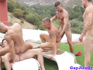 Hunky athletic gays fucking ass in the sun