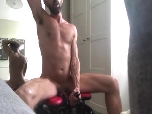 guy rides a dildo machine