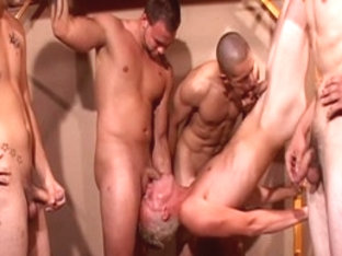 Amazing male pornstars Ash McCoy, Cory Sullivan and Brent Stenson in horny tattoos, rimming homo s.