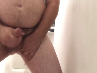 Chubby solo handjob with cum in the shower!