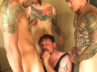Insatiable Cocksucker Sucks off Three Hot Tatted Buddies