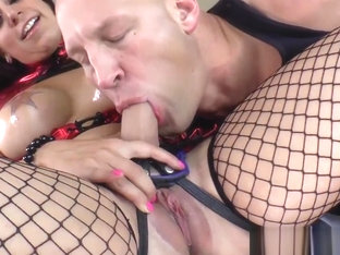 Dominating babe pegging her slave