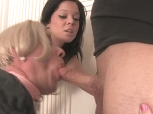 Sissy hubby sucks and gets facial in front of his wife