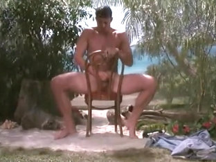 Guy Beating Off Outdoor