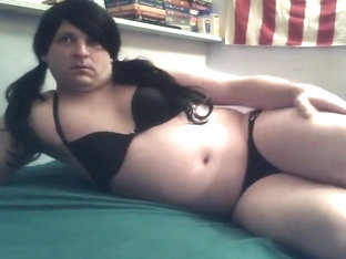 Crossdresser Wearing Bra and Panties