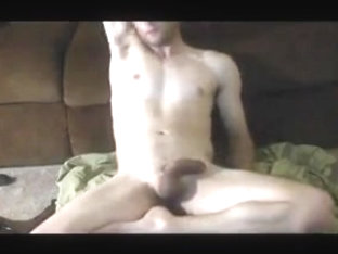 Stroking cock covered in oil