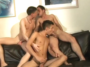 Horny boys 3way suck fuck & cum on a black couch 480p