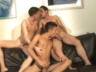 Horny boys 3way suck fuck & cum on a black couch 480p