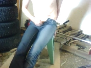 Skintight jeans pee and cum