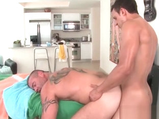Kinky gay masseur having hardcore anal sex on table