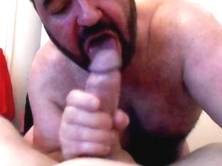 Bear worships big cock on poppers