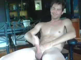 Lovely boyfriend is jerking in the bedroom and memorializing himself on computer webcam