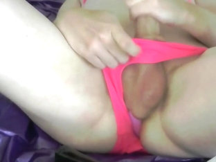 Crossdresser pink bikini with buttplug and cumshot