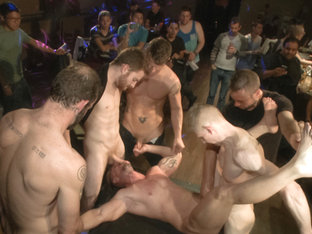 Muscled stud has had enough but the horny crowd says no