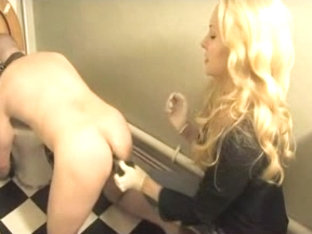 Poor serf and his dominatrix mistress in the bathroom