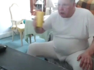 Grandpa cum on webcam 10