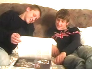 Russian studs read homosexual magazine, previous to have sex