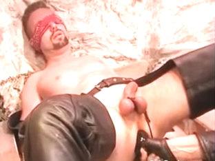 Eyefolded homo bondman acquires abase and balls punished