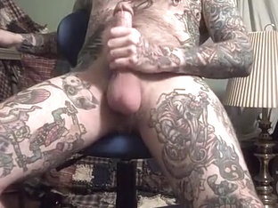Rock Hard Jack Off of heavily tattooed guy.