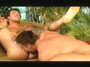 Best male pornstars Flavio Valentino and Julian Vincenzo in crazy tattoos, blowjob gay adult clip