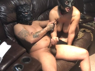 Sex slave dildo action restraint sex slave in training bdsm latex mask