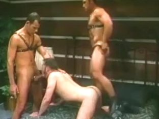 Verbal furry leather threesome