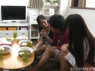 Three lustful Japanese AV Models are amateurs sharing hard cock of excited guy